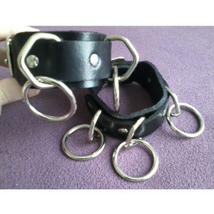Jewelry - Leather O-Ring Wristbands (Set of 2)